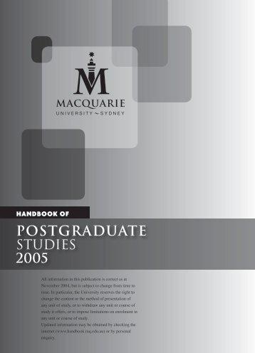 Postgraduate - Macquarie University Handbooks