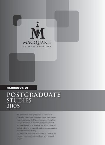 Postgraduate - Macquarie University Handbooks