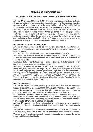 SERVICIO DE MINITURISMO - Intendencia de Colonia