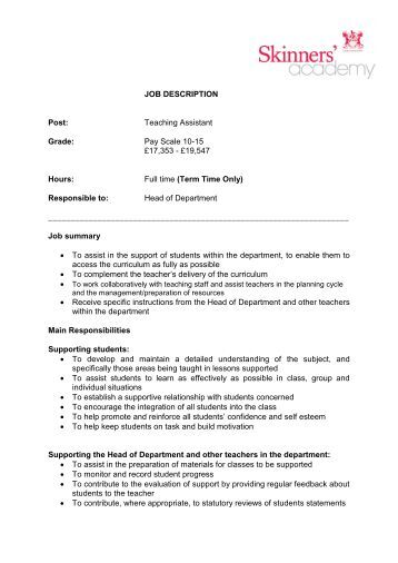 Resume teaching assistant job description
