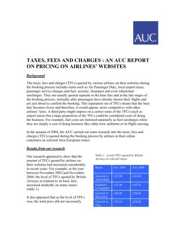 taxes, fees and charges - Air Transport Users Council