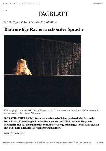 Tagblatt Online - Blutrünstige Rache in schönster Sprache