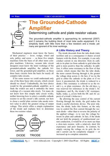 Grounded Cathode Amplifier - Tube CAD Journal