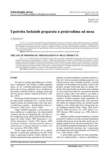 Upotreba fosfatnih preparata u proizvodima od mesa - inmesbgd.com