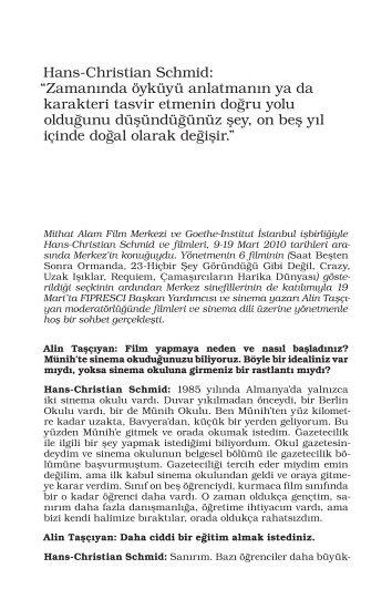 Hans-Christian Schmid - Mithat Alam Film Merkezi