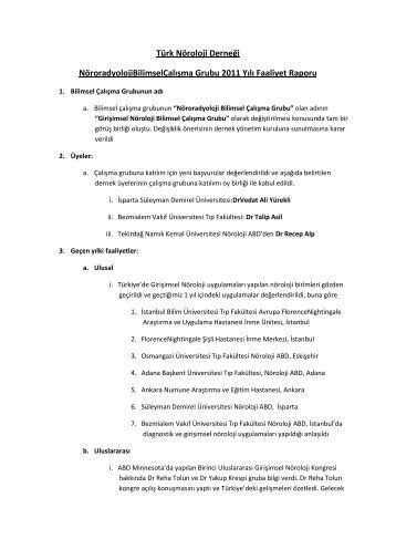 2011 Çalışma Grubu Raporu - Türk Nöroloji Derneği