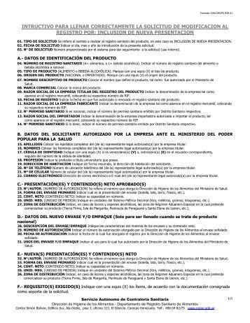 inclusion de nueva presentacion - Servicio Autónomo de Contraloría ...