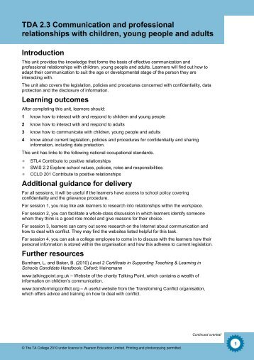 tda 3 1 stls level 3 Cache level 3 diploma in specialist support for teaching and learning in  schools (qcf)  tda 35: develop professional relationships with children,  young people and  a credit value - one credit represents about 10 hours' work   tls ) level credit glh page notes m/601/4070 tda 36 promote equality,  diversity.