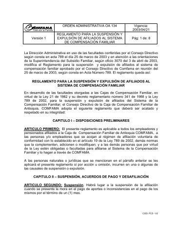 Reglamento para la suspensión y expulsión de afiliados ... - Comfama
