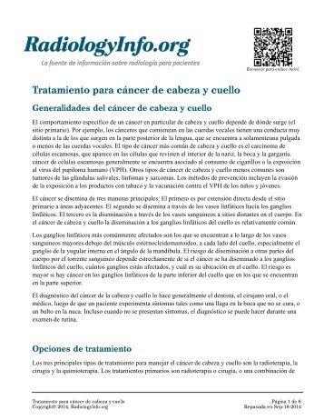 Tratamiento para cáncer de cabeza y cuello - RadiologyInfo