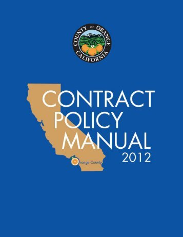 County Of Orange Contract Policy Manual Pdf