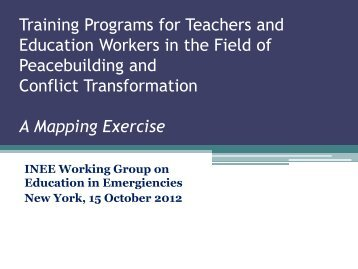 Training Programs for Teachers and Education Workers in ... - INEE