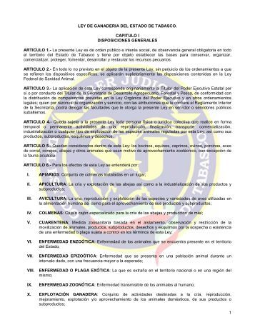 LEY DE GANADERIA DEL ESTADO DE TABASCO - Tribunal ...