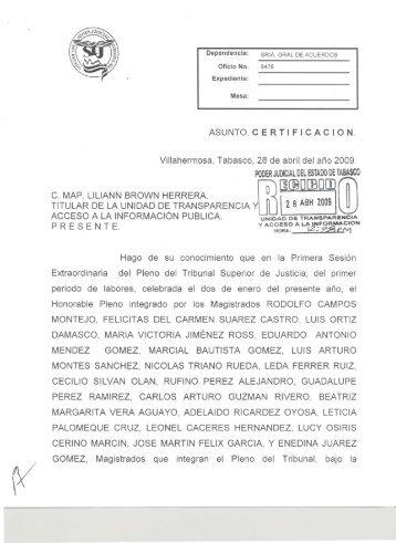 ASUNTO.CERTIFICACION. - Tribunal Superior de Justicia de Tabasco