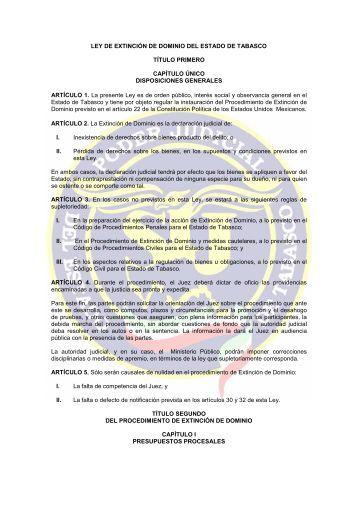 ley de extincion de dominio - Tribunal Superior de Justicia de Tabasco