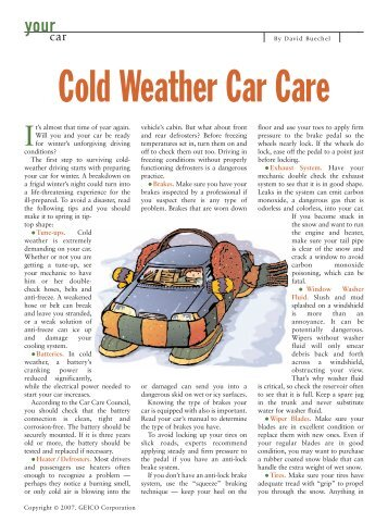 Cold Weather Car Care