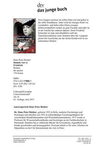 an analysis of friedrich by hans peter richter Freundschaft und judentum friedrich schneider wird im jahr 1925 als sohn eines jüdischen postbeamten geboren  hans peter richter damals war es friedrich.