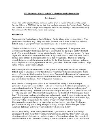 U.S Diplomatic History in Brief – a Foreign Service ... - US Diplomacy