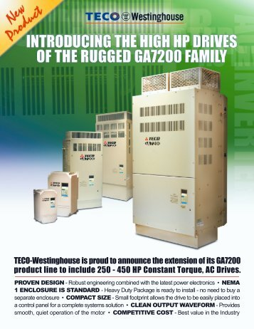 GA7200 High HP Specifications / Brochure - TECO-Westinghouse ...