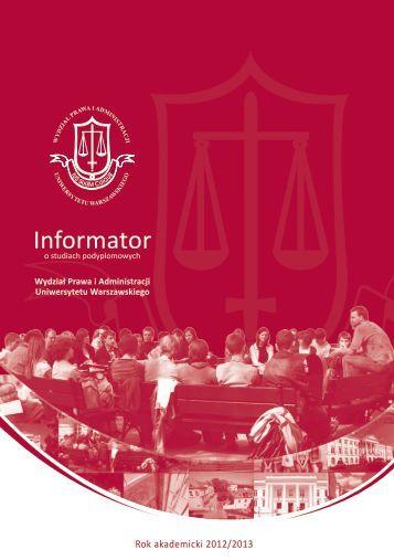 Informator - Wydział Prawa i Administracji UW - Uniwersytet ...