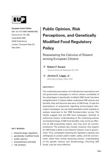 Public Opinion of Genetically Modified Organisms