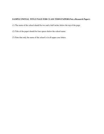 term paper title page