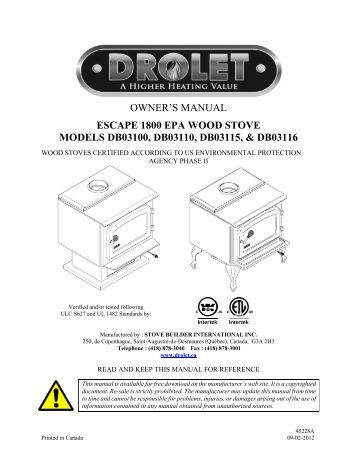 drolet classic wood stove manual