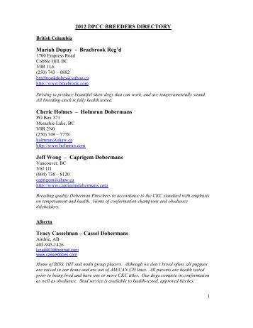 2012 dpcc breeders directory - Doberman Pinschers of Canada