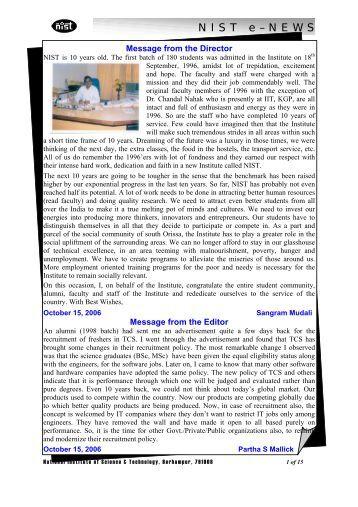NIST e-NEWS(Vol 42, Oct 15, 2006)