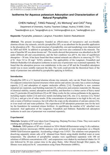 Isotherms for Aqueous potassium Adsorption and Characterization ...