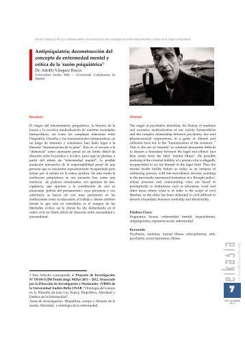 ANTIPSIQUIATRÍA: DECONSCTRUCCIÓN DEL CONCEPTO DE ENFERMEDAD MENTAL Y CRÍTICA DE LA 'RAZÓN PSIQUIÁTRICA'. DR. ADOLFO VÁSQUEZ ROCCA