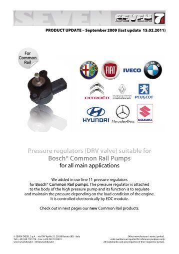 Pressure regulators (DRV valve) suitable for - SEVEN DIESEL SpA