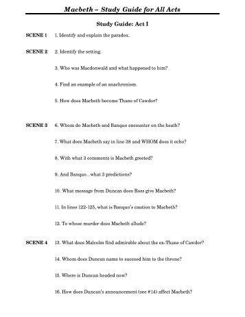 macbeth act 1 study guide pdf