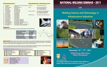 NWS-2011 Brochure.pdf - The Indian Institute of Welding