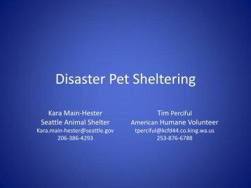 Disaster Pet Sheltering - WSU Conference Management