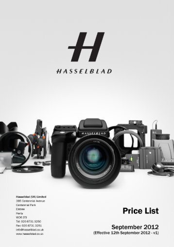 hasselblad uk ltd - price list september 2012 - v1 - Pro Centre