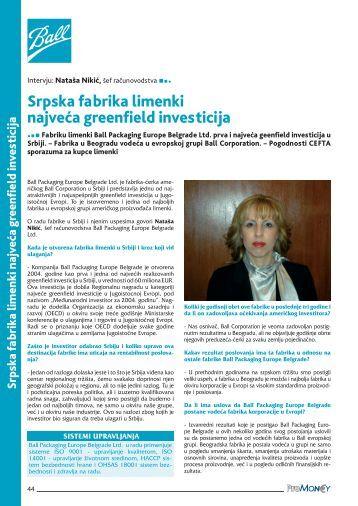 Srpska fabrika limenki najveca greenfield investicija - ProMoney