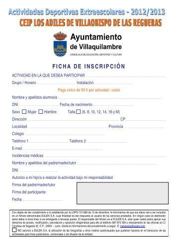 FICHA DE INSCRIPCIÓN - Ayuntamiento de Villaquilambre