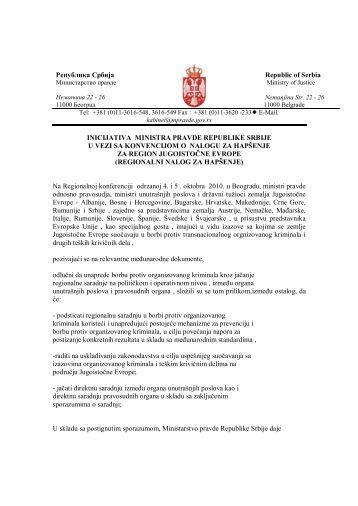 Inicijativa Ministarstva pravde Republike Srbije u vezi sa ...