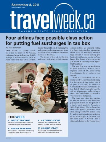 Four airlines face possible class action for putting fuel ... - Travelweek