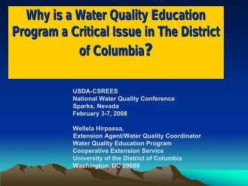 Why is a Water Quality Education Program a Critical Issue in the ...