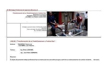 Transformacion de un Turbo Compresor a Turbina Gas