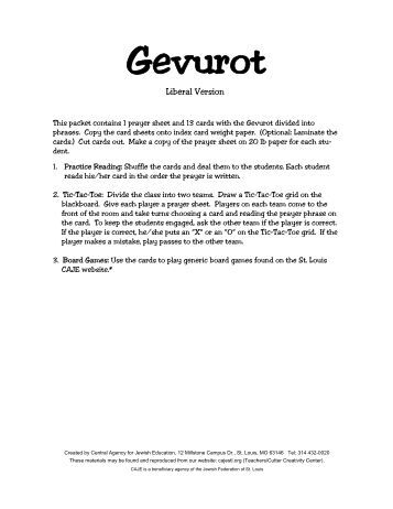 Gevurot Prayer sheet & 13 cards.pub - Central Agency for Jewish ...