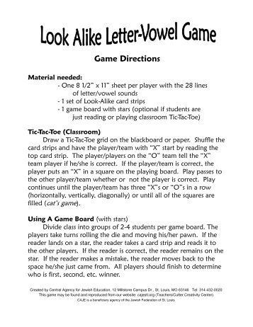 Look Alike Letter-Vowel Game pdf.pub - Central Agency for Jewish ...