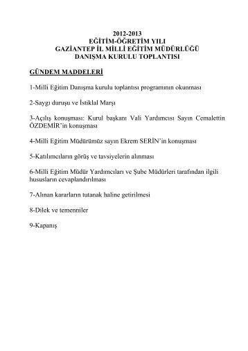 2012-2013 eğitim-öğretim yılı gaziantep il milli eğitim müdürlüğü ...