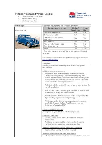 Historic Vehicle Club policy, vehicle sheet and list of approved ... - RTA