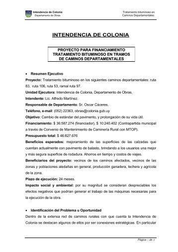 proyecto carpeta de rodadura en rambla de colonia - Intendencia de ...