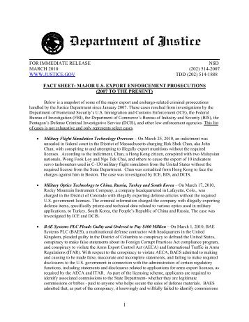 Fact Sheet: Major U.S. Export Enforcement Prosecutions (2007 to ...