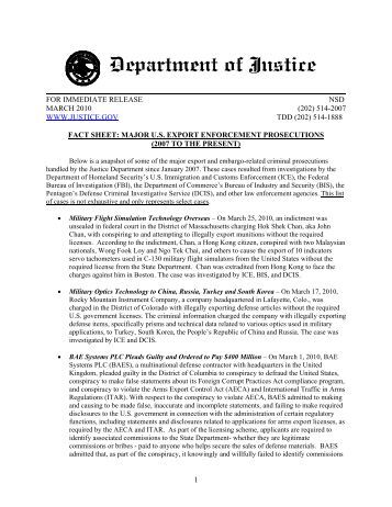 Fact Sheet: Major U.S. Export Enforcement Prosecutions (2007 to ...