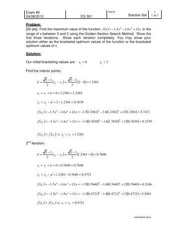 Exam #2 04/08/2013 ES 301 Solution Set Problem: [20 pts] Find the ...